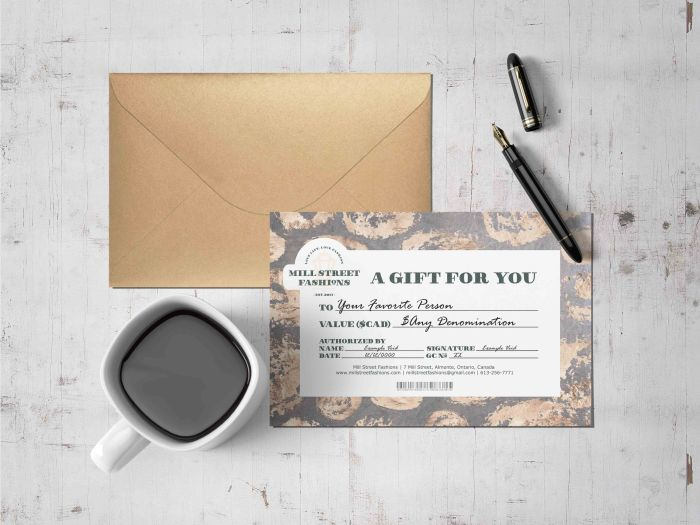 Mill Street Fashions Gift Certificate Example